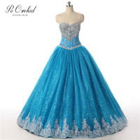 PEORCHID 2019 Sweetheart Crystal Quinceanera Dresses Blue Lace Vestidos Dulces 16 Debutante Dress Puffy Princess Ball Gowns