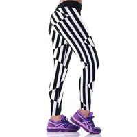 2017 Donne di Estate della Molla 3D Stripe Bianco Nero Legging di Fitness Ginnastica Capri A Vita Alta A Maglia Sottile Pant Casual Gogger Legin