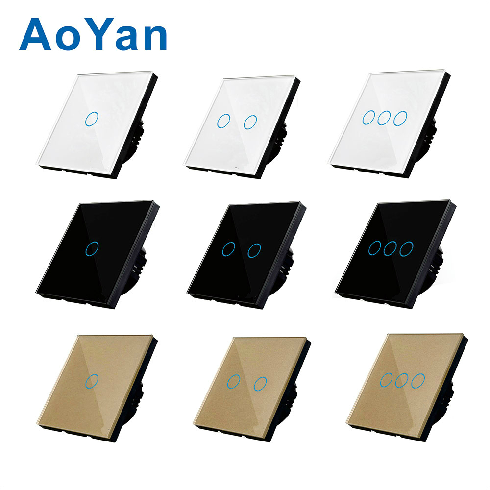 AoYan Touch Switch EU standard 1 Gang 1 Way Black/Gold/White Wall Light Touch Screen Switch Crystal Glass Switch Panel touch smart home switch screen white crystal glass panel switch eu wall switch ac250v wall light switch 1 gang 1 way rainbo