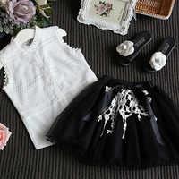 Детская одежда летние комплекты одежды для девочек 2018 г. новые детские костюмы без рукавов с кружевной рубашкой и юбкой хлопковая одежда дл...