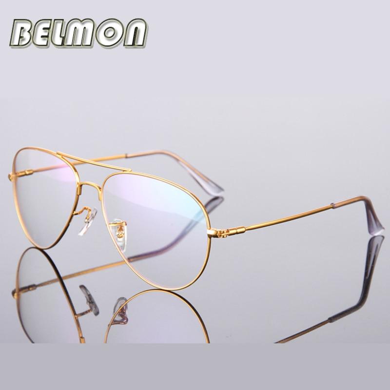 Marco de gafas doradas Mujeres Hombres Computadora Anteojos ópticos Marco de gafas Para mujer Hombre transparente Armacao de RS271
