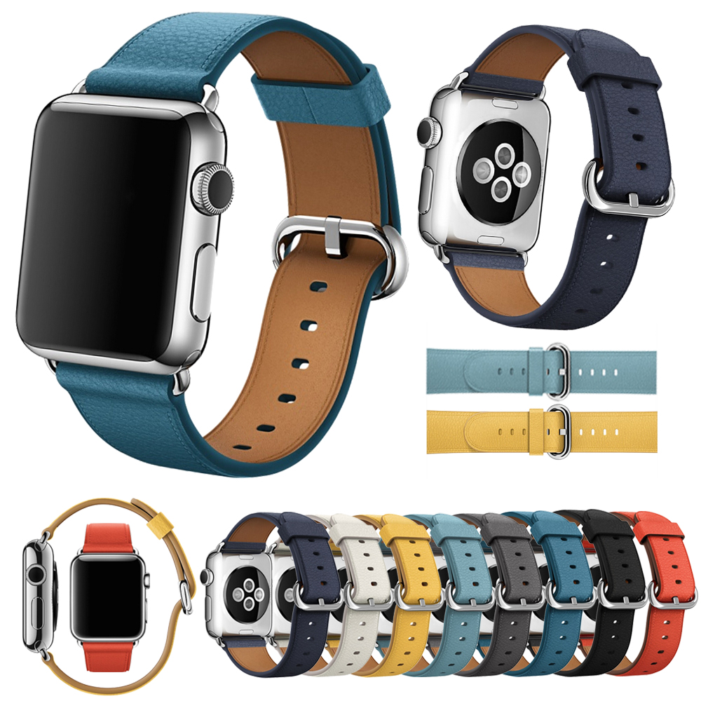 Genuine Leather Classic Buckle for Apple Watch Band Replacement Classic Buckle Watch Band for Apple Watch Bands 38mm And 42mm wristband silicone bands for apple watch 42mm sport strap replacement for iwatch band 38mm classic stainless steel buckle clock