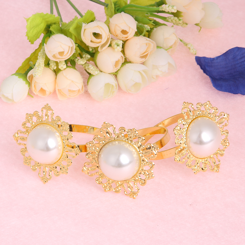 new pearl napkin buckle, silver hoop hotel party table decoration ...
