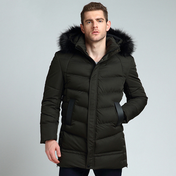 Winter Jackets Mens Coat Male Solid Color Warm Overcoat Padded Quilted Jacket Men Long Parkas Male Fur Collar Jacket Size M-3XL фото