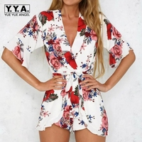 2018 Spring New Womens Jumpsuits Belted High Street Loose Female Fashion Sexy Floral Playsuits Printing Lady Blue White Shorts