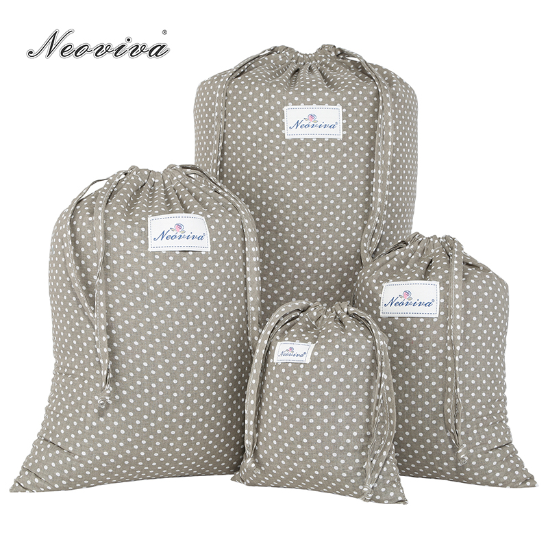 Neoviva Cotton Laundry Bag For TO-GO With Drawstring, Pack Of 4 In Different Sizes, Polka Dots Brown Bag Set For Laundry Pouch