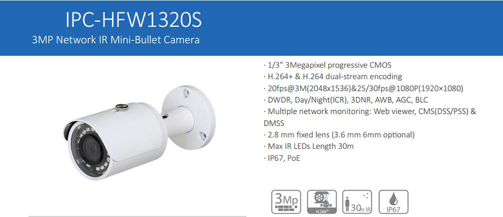 цены Free Shipping DAHUA IP Camera CCTV 3MP FULL HD Small Fixed IR Bullet IP Camera IP67 with POE without Logo IPC-HFW1320S