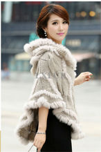 Fashion Womens Knitting Yarn Hoody Shawls with Rabbit Fur Trimming Lady Casual Hooded Poncho Solid Capes LX00834