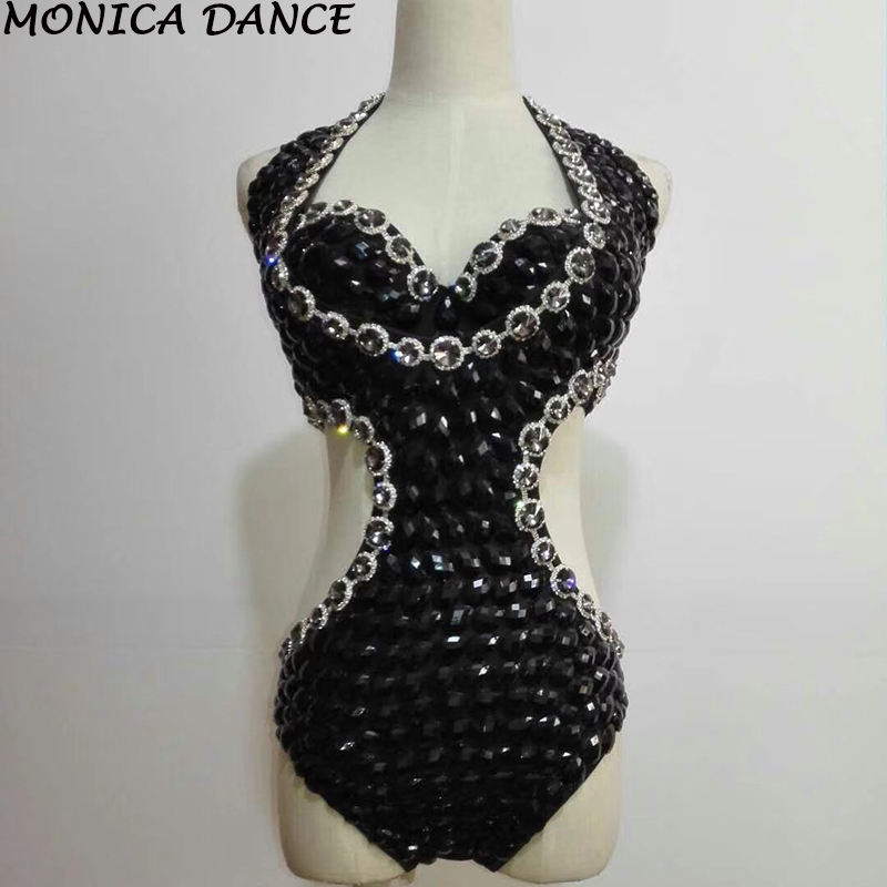 Sexy Stage Sparkly Bodysuit Crystals Costumes One Piece Rhinestones Black Outfit Female Singer Dancer Performance Stage Costumes
