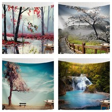 CAMMITEVER Scene Tapestry Printed Fabric Easy To Clean Wall Blanket Home Decor Fog Woods Lake