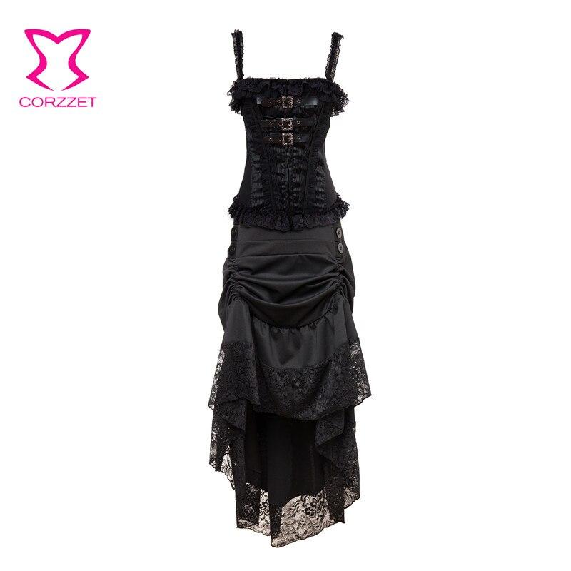 6fe38dff227 Black Clubwear Women Gothic Dress Vintage Corset Skirt Set Steampunk  Dresses Victorian Corpetes E Corselet Sexy