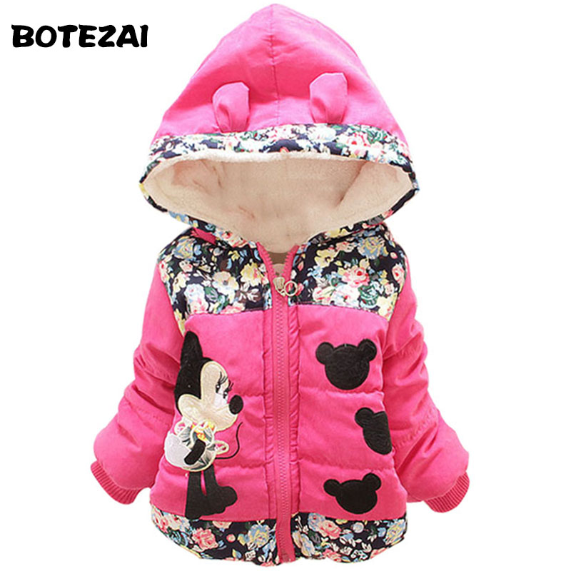 New 2017 Autumn & Winter Children Minnie Hoodies Jacket & Coat Baby Girls Clothes Kids Toddle Outerwear Warm Coat Age 1-4T