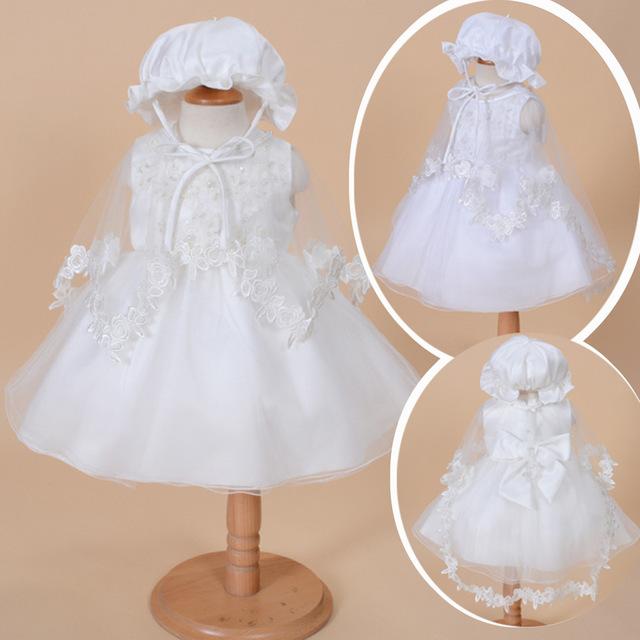 Hecho a mano avanzada vestido infantil baby girl dress hermosa vestidos de bautizo cumpleaños dress con sombrero del bebé del cordón del cabo 3 unids conjunto