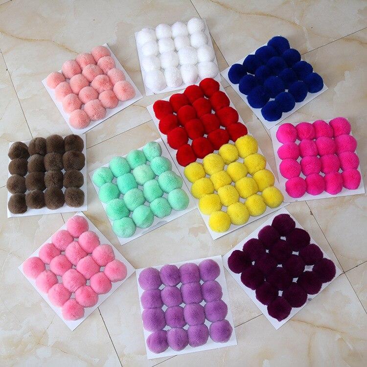 20 färger Real Fur Ball 6cm Pompom Keychain Bil Pompon Kanin Fur - Semester och fester - Foto 2