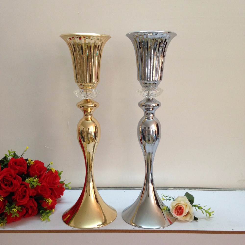 "Wedding Flower Vases Wholesale: 55cm /21.6"" Wedding Flower Vase Gold Or Silver Table"
