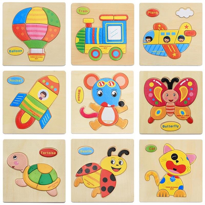 1124 35 De Descuentoaprender Inglés Palabra Calidad Dibujos Animados Animales Vehículo Fruta 3d Colorido Rompecabezas De Madera 1 2 3 Años Bebé