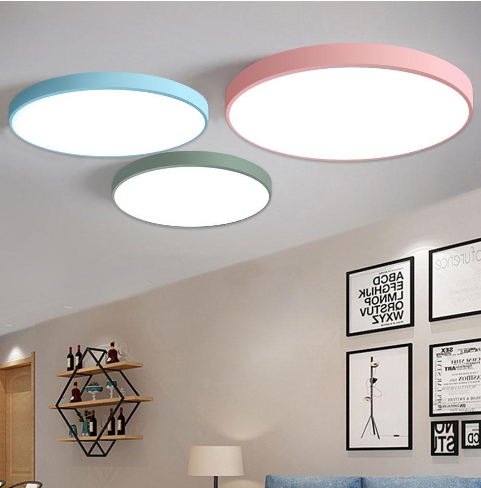 HTB1XLReaIfrK1Rjy1Xdq6yemFXaU LED Ceiling Light Lamp Modern Lighting Fixture Bedroom Kitchen Foyer Simple Surface Mount Flush Panel Living Room Remote Control