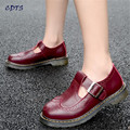 CDTS Spring 2017 british style vintage women's shoes round toe T-strap cutout carved buckle Girl's Flats zapatillas mujer