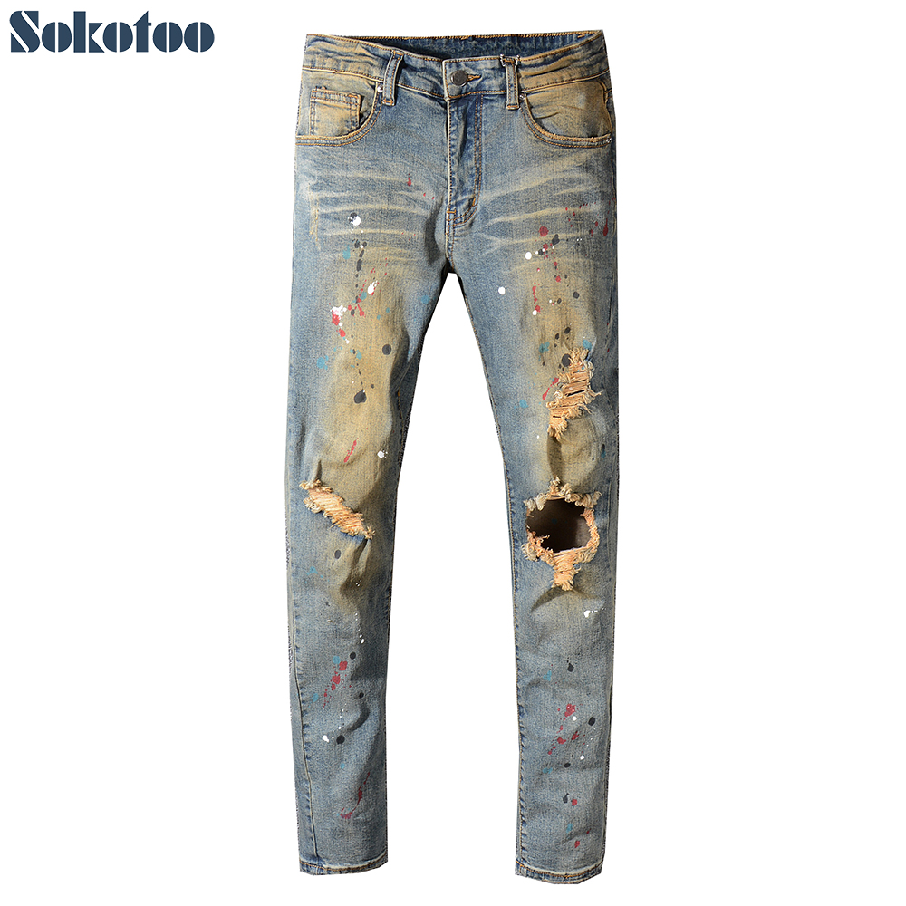 Sokotoo Men's Painted Holes Ripped Torn Denim Jeans Vintage Blue Distressed Stretch Denim Pants High Quality