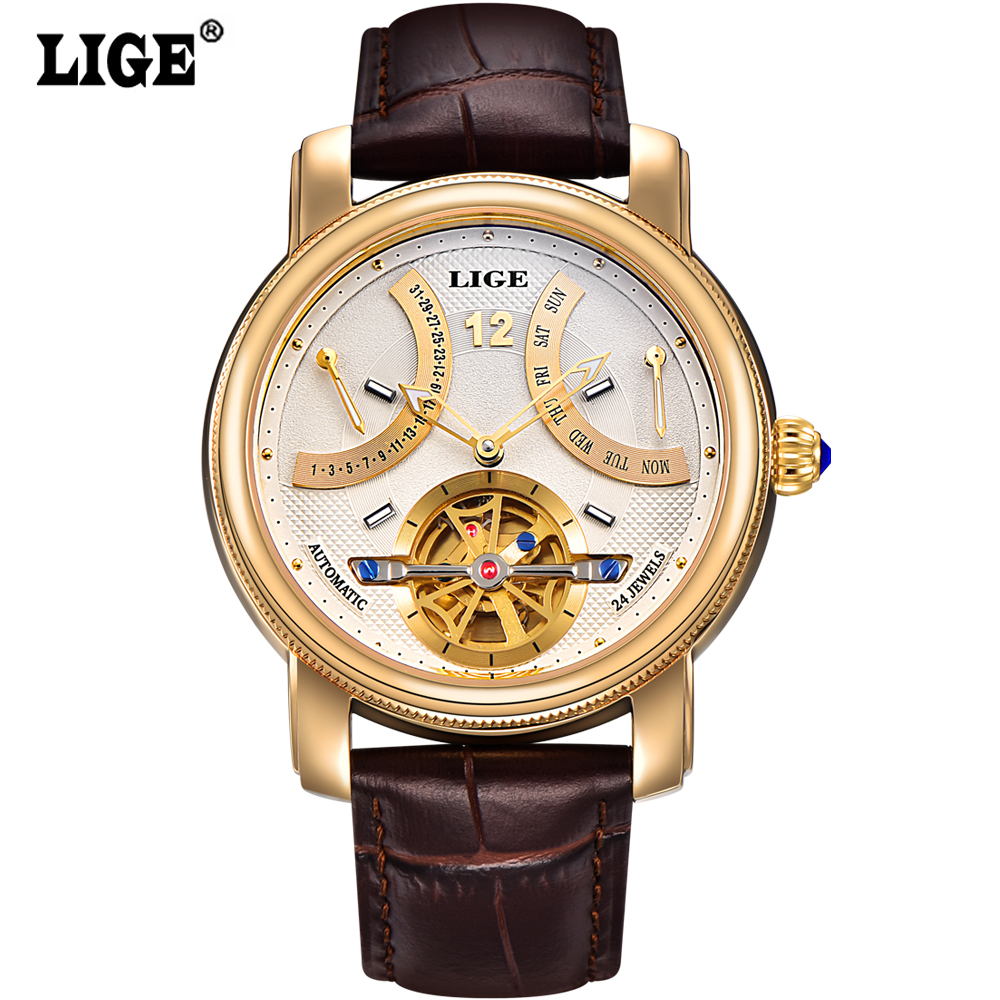 2016 Luxury Brand LIGE Automatic Watch man Waterproof Fashion Casual Watches Men Calendar Leather Gold Clock relogio masculino real amount of ceramic fashion set auger waterproof quality precision rotary calendar watch brand man woman a good watch