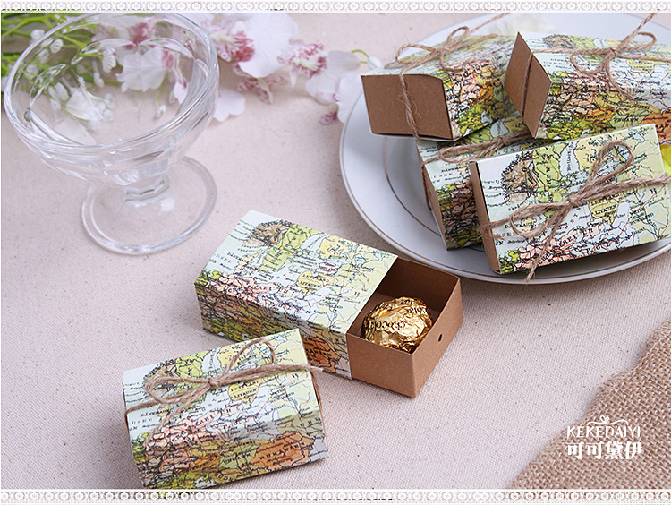 wholesale 1000pcs/lot Wedding Sweet Box-- Around the World Map Favor Box for traveling t ...