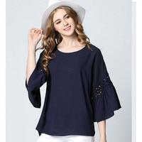Summer New Loose Speaker Sleeves Chiffon Shirt Dark Blue Hollow Stitching Blouse Plus Size L XL