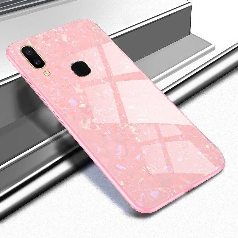Case For OPPO F9 A3S F7 Nova3i Cover Korean Marble Skin Shiny Tempered Glass Shockproof Shell Case For Vivo V7 Plus V9 V7 Cover
