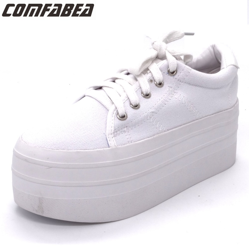 2018 Spring Autumn Women High Platform Casual Shoes Women Canvas Shoes Fashion Lacing Flat Bottom Harajuku Shoes For Women White 2017 women casual shoes women canvas shoes all match fashion colorant high lacing flat bottom vintage denim shoes for women
