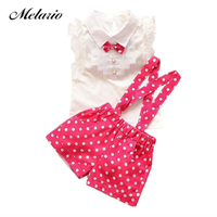2015 Summer Girls Clothing Set Of A 3colors Chiffon Plaid Sleeveless T Shirt Polka Dot Pant