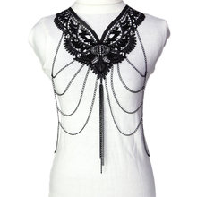 Sexy Lace Flower Multilayer Tassel Body Chain For Women Hollow Gothic Luxury Necklace Party Beach Body Jewelry M989