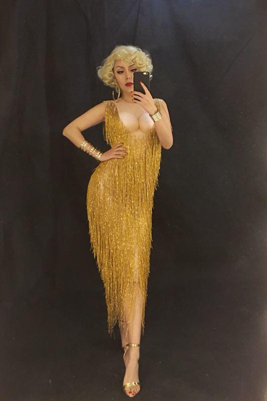 Модные золотые бахрома платье цельный стрейч Сексуальная сцена вечер праздновать Роскошные платья с кисточками Для женщин наряд для дня ро