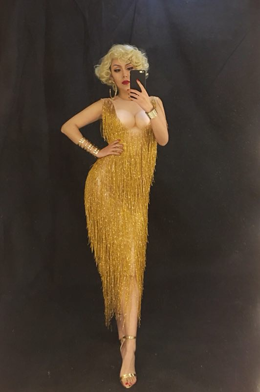 Fashion Gold Fringe Dress One piece Stretch Sexy Stage Evening Celebrate luxurious Tassel Dresses Women's Birthday Outfit Dress