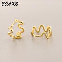цена на Wave Shaped Earrings Irregular Handmade Wire Earring for Women Geometric Ear Jewelry 100% 925 Sterling Silver Stud Earrings