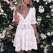 Cuerly v neck hollow out cotton embroidery dress women summer crochet skater white boho beach style L5