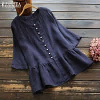 Vintage Ruffle Shirt Women's Linen Blouse ZANZEA 2019 Summer Tunic Tops Female Long Sleeve Chemise Elegant Plus Size Blusas 5XL