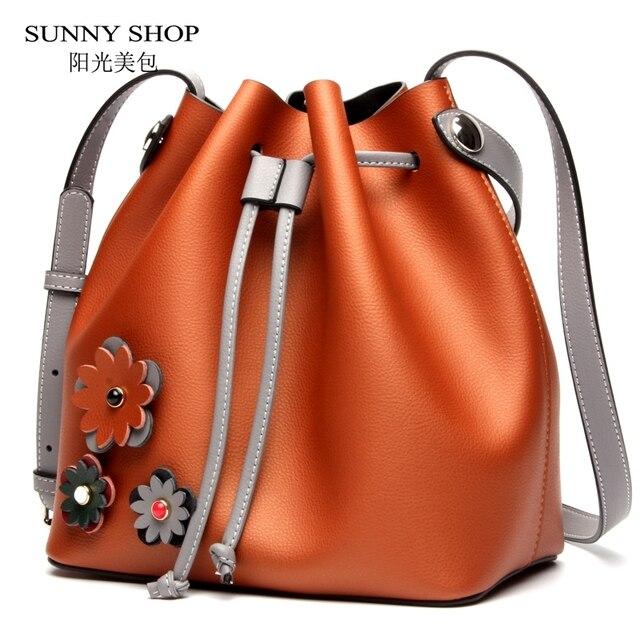 6592ed8b3b38 SUNNY SHOP Autumn New Women Messenger Bags Genuine Leather Women Shoulder  Bags Luxury Women Real Leather Handbags Brand Designer