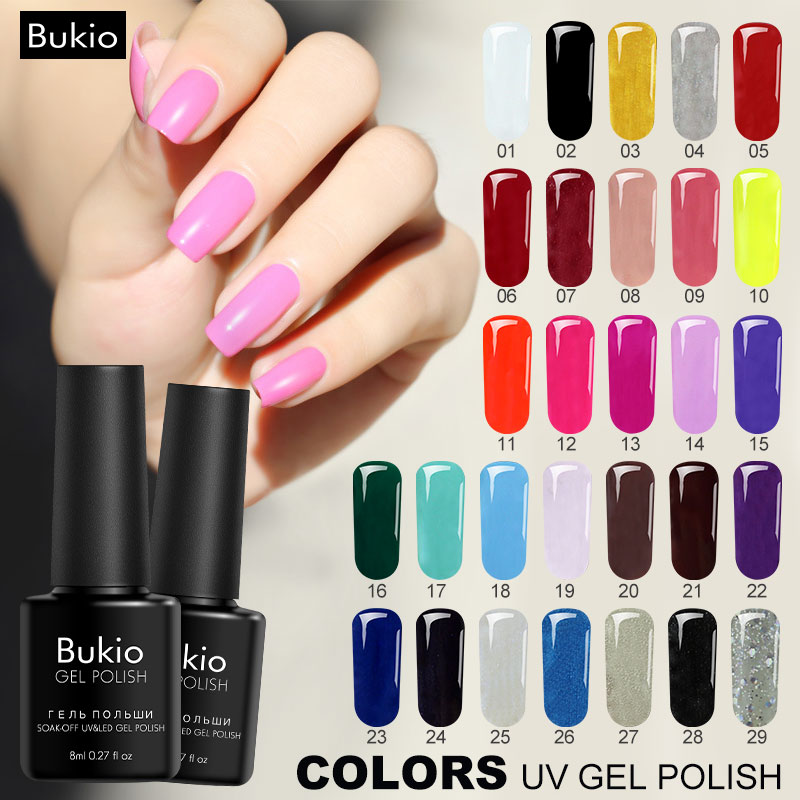 Bukio Beauty 29 Colors Ordinary Gel Nail Polish Semi Permanent Led Gel Lacquer Long-Lasting Glitter Nail Gel Polish Need UV Lamp ...