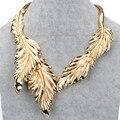 Новый Fashon стали металлический лист цепи обруч петля коренастый воротник себе нагрудник ожерелье