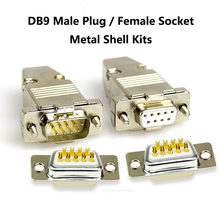 DB9 Male Plug / Female Socket Metal Shell Kit RS232 9 Pin Serial Port Connector RS485 RS422 COM D-SUB9 Adapters(China)