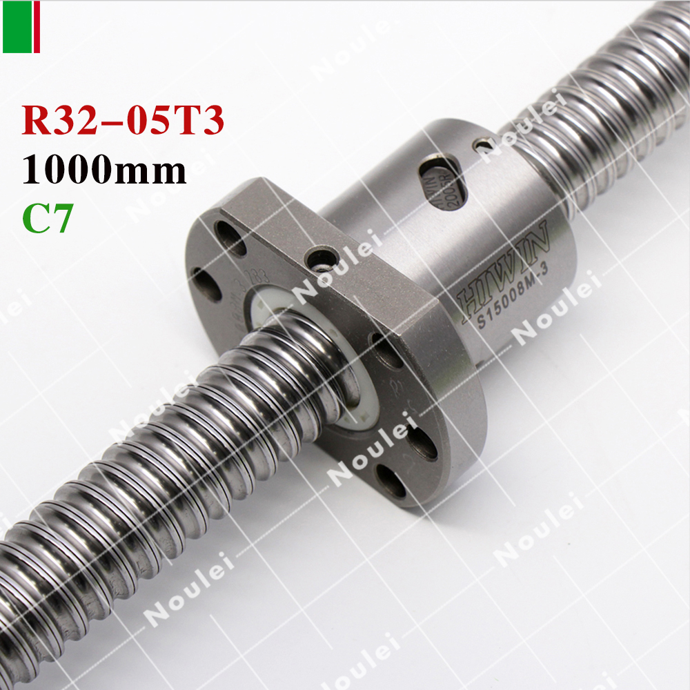 HIWIN FSI 1000mm 3205 5mm lead screw cnc ball screw set and end machined for lead screw high stability linear CNC parts hiwin fsi 2005 c7 750mm ball screw 5mm lead with r20 5t3 fsi ballnut and end machined for high stability linear cnc diy kit