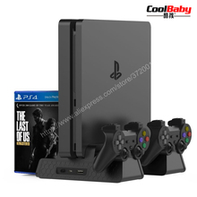 for PS4 Accessories PS4/PS4 Slim/PS4 Pro Vertical Console Cooling Fan for PS4 Controller Charger Game Disk Storage Stand Tower