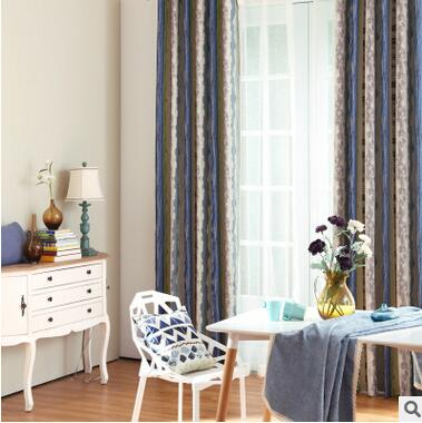 100% Cotton Mediterranean striped curtain fabric for living room for bedroom Full Light shade printing for reading room