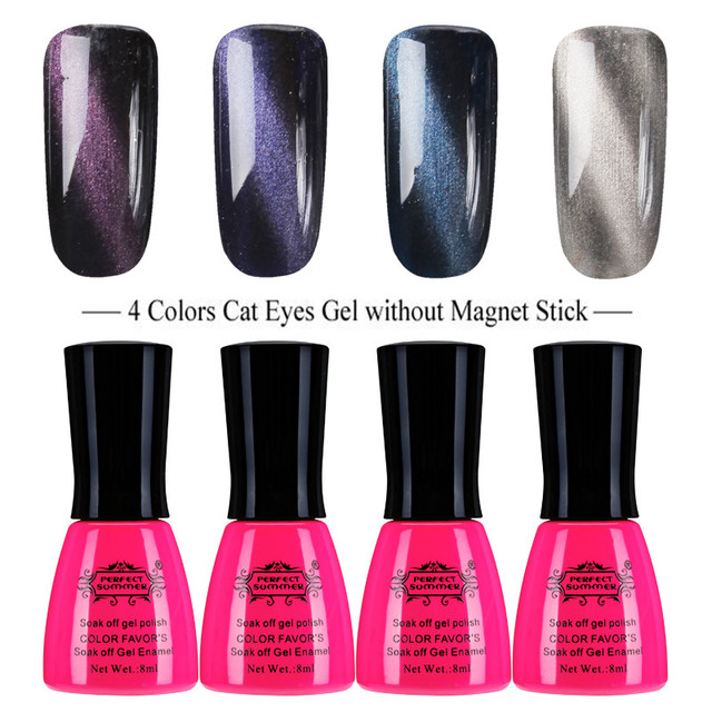 Perfect Summer Cat Eyes Magnetic Gel Polish 4 Colors UV LED Gel Nail ...