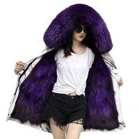 Женское зимнее пальто из меха енота с большим меховым воротником с капюшоном ветровка плюс размер женский лисий мех лайнер пальто Parker Длинн
