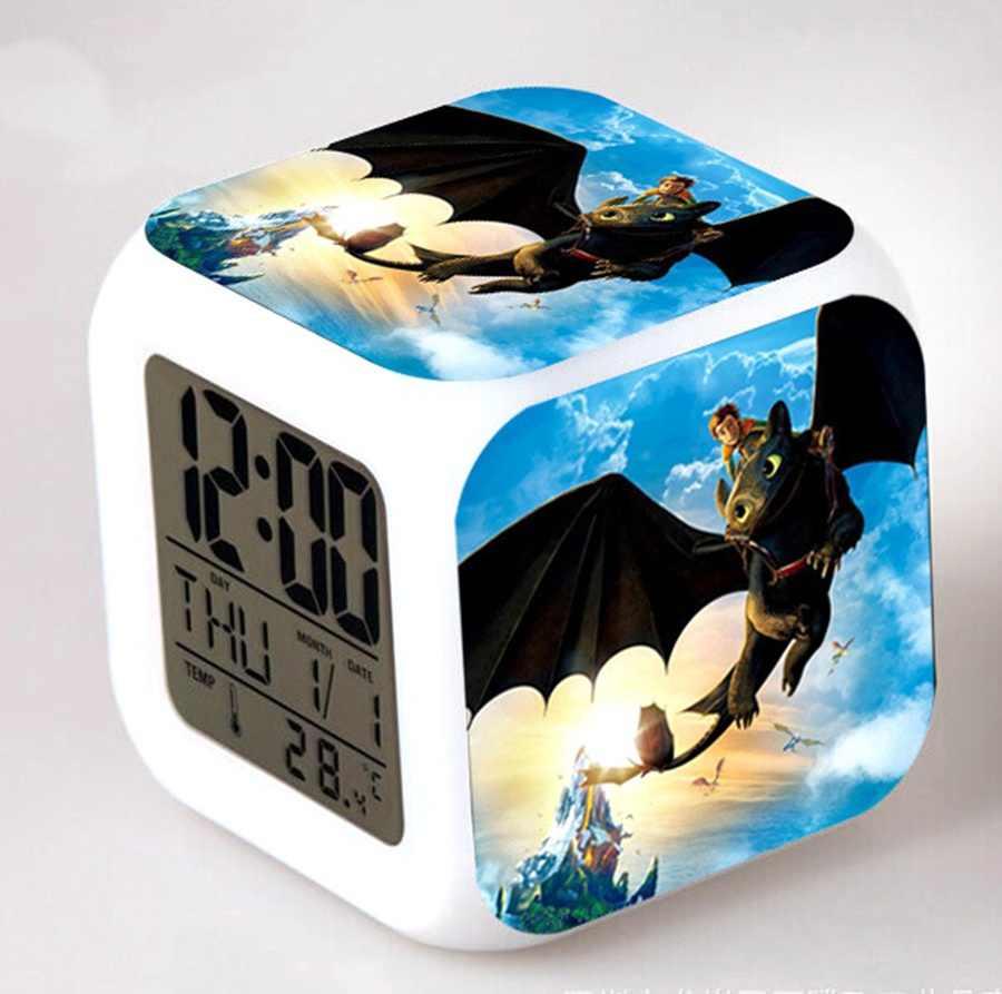 Piscando Relógio Dragão Fúria Noite Leve Toque LEVOU Mudança de Cor Despertador Dos Desenhos Animados Figura Soluço E Banguela Crianças Brinquedo Relógio de Cabeceira