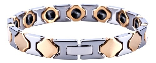 Romantic Tungsten Carbide Gold Plating with Germanium Magnetic Bracelets /TUBR1012