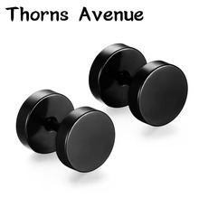 Thorns Avenue Fashion 1 Pair/Lot 5 Colors Stainless Steel Stud Earring Punk Barbell Dumbbell Shape Earrings For Men Women