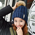 Fashion Women Hat Warm Woolen Winter Caps Knitted Fur Hats for Women Sooner State Letter Skullies & Beanies 7 Color Gorros MZ013