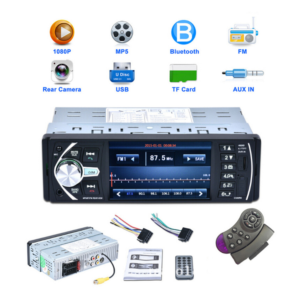 4.1 Inch HD Autoradio Speler Met without camera 4020D 1 Din Car Auto Video Player AUX FM Bluetooth Afstandsbediening Stereo