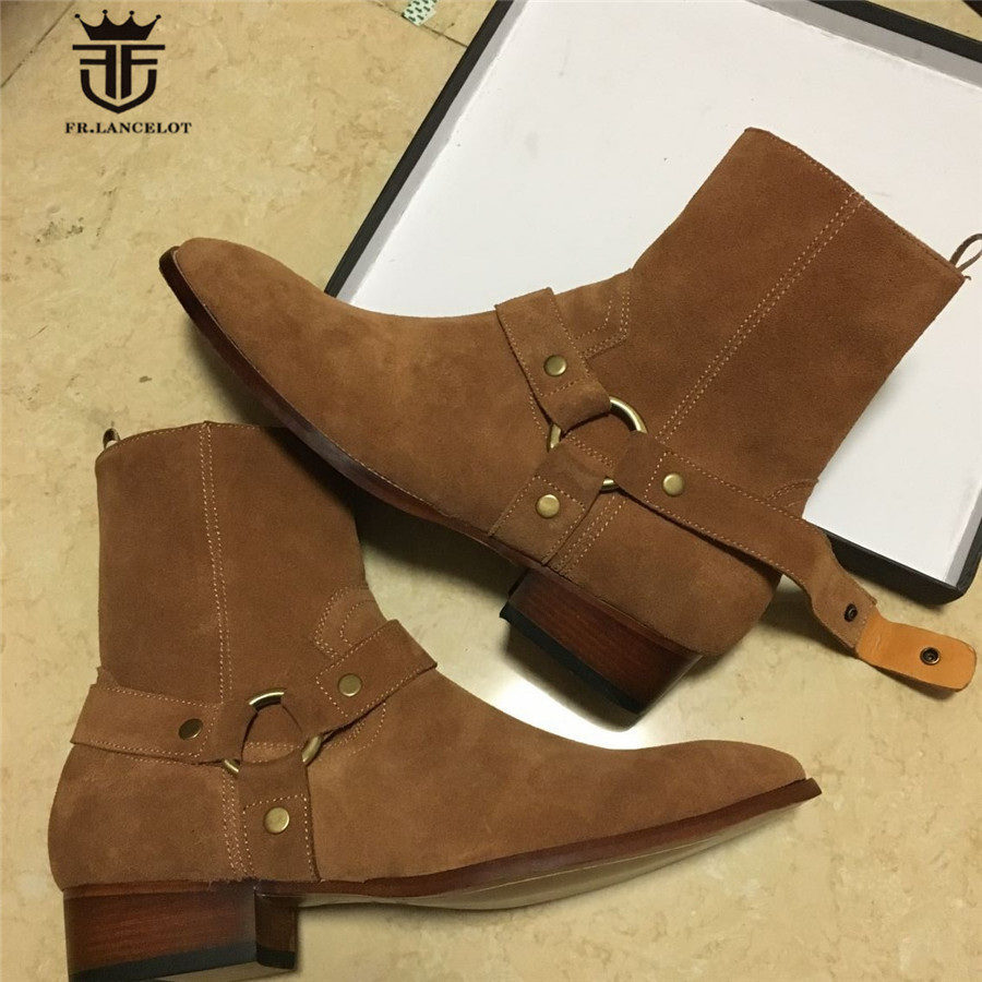 Real Picture Luxury Handmade Classical Wyatt Homme Harness High Top Chelsea Men Boots wedge Real Cow Leather Suede Boots high end handmade customized high top luxury demin boots men genuine leather personalized suede folds chelsea boots